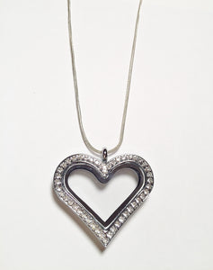 Crystal Heart Floating Charm Locket Necklace