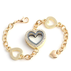 4 Heart Gold Locket Bracelet