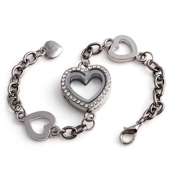 4 Heart Gun Metal Black Locket Bracelet