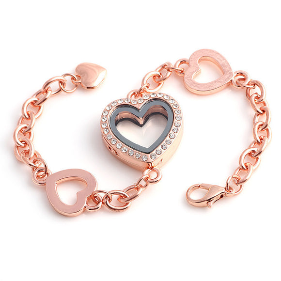 4 Heart Rose Gold Locket Bracelet
