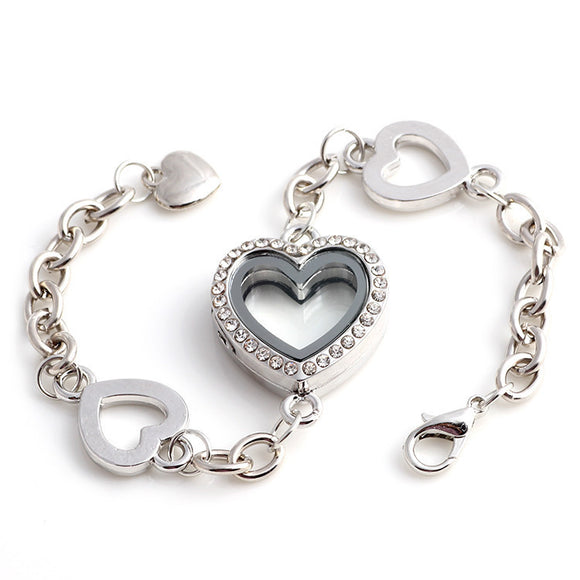 4 Heart Silver Locket Bracelet