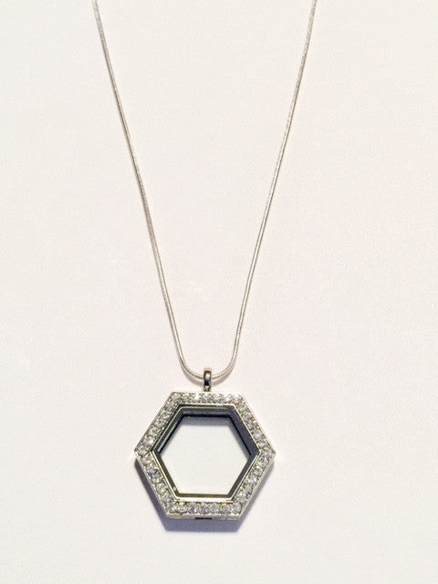 Hexagon Floating Charm Locket Necklace