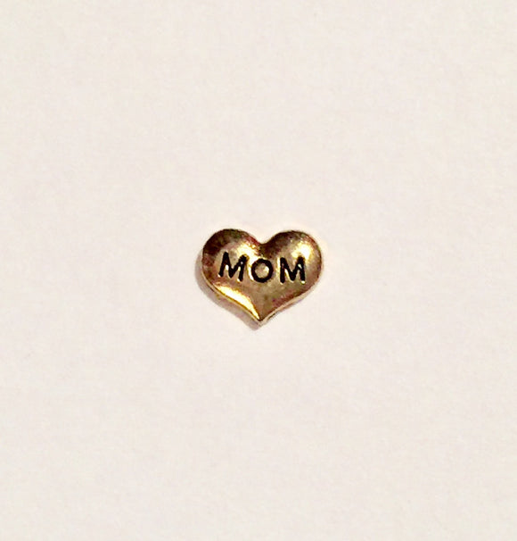 MOM Heart Charm (Gold tone)