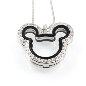Mouse with Crystals Floating Charm Locket Necklace