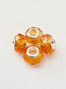 Orange Murano Glass Lampwork Faceted Charm Bead