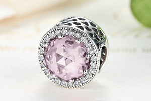 Pink .925 Sterling Silver Crystal Round Charm Bead