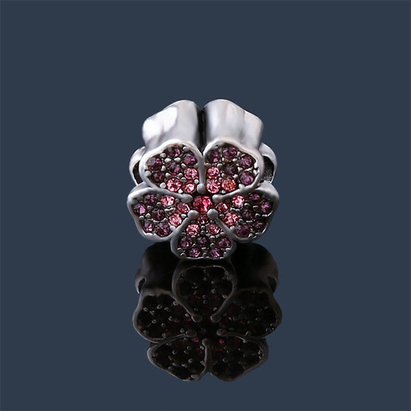 Purple & Pink Crystal Flower Charm Bead