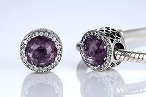 Purple .925 Sterling Silver Crystal Round Charm Bead