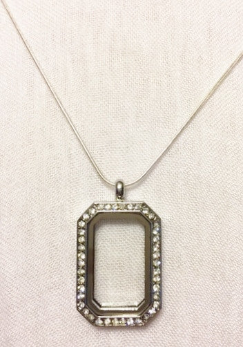 Rectangular Floating Charm Locket Necklace