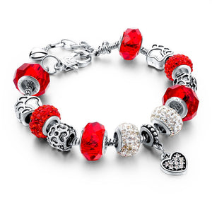 Red & Silver Charm Bracelet