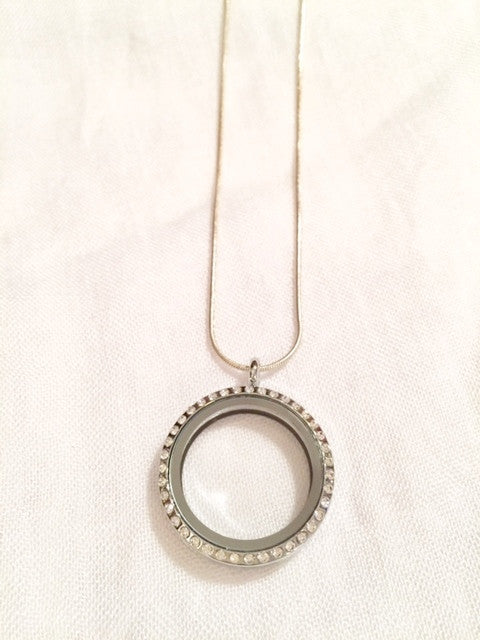 Silver Round Floating Charm Locket Necklace