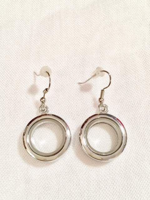 Silver Round Locket Earrings