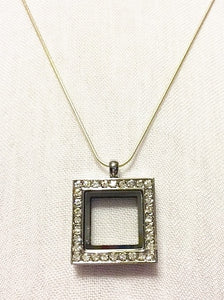 Square Floating Charm Locket Necklace