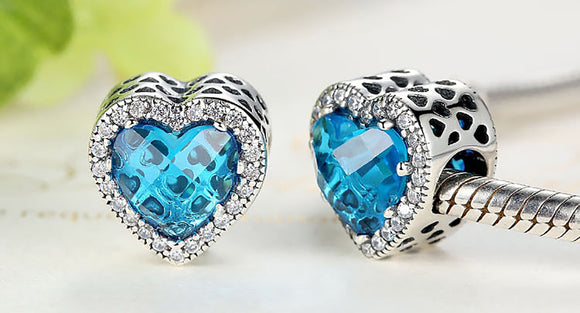 Blue .925 Sterling Silver Crystal Heart Charm Bead