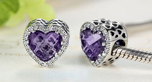 Purple .925 Sterling Silver Crystal Heart Charm Bead