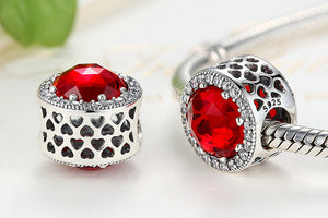 Red .925 Sterling Silver Crystal Round Charm Bead