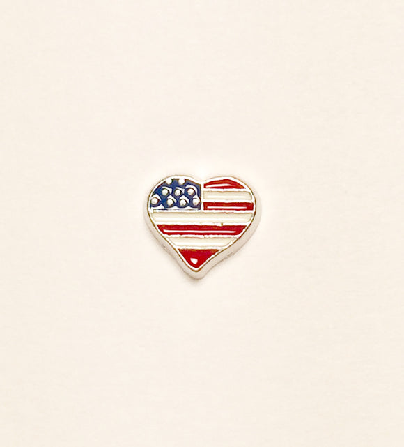 US Flag Heart Charm