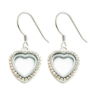 Tiny Heart Floating Locket Earrings