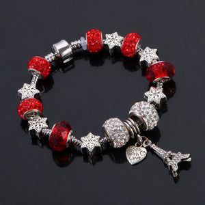 Red & Silver Eiffel Tower Charm Bracelet