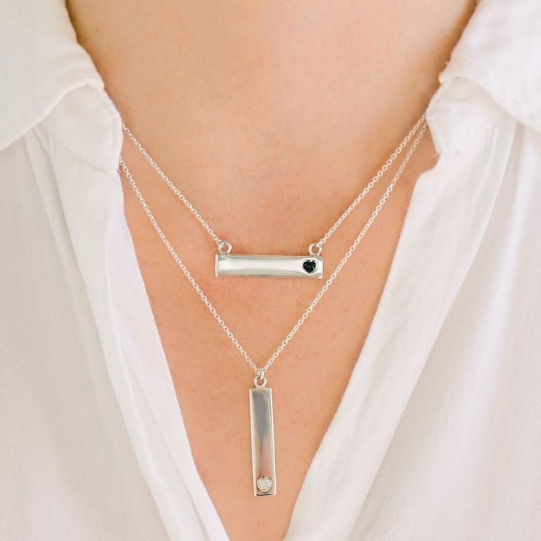 Sterling Silver Bar Necklace with Heart Everence Inlay everence.life