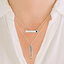 Sterling Silver Bar Necklace with Heart Everence Inlay