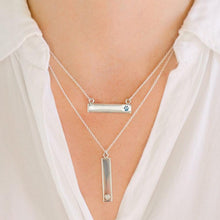 Sterling Silver Bar Necklace with Pawprint Everence Inlay everence.life