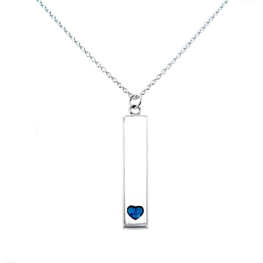Sterling Silver Bar Pendant Necklace with Heart Everence Inlay everence.life