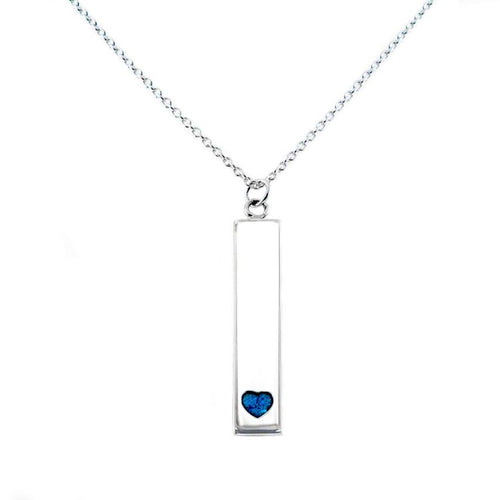 Sterling Silver Bar Pendant Necklace with Heart Everence Inlay