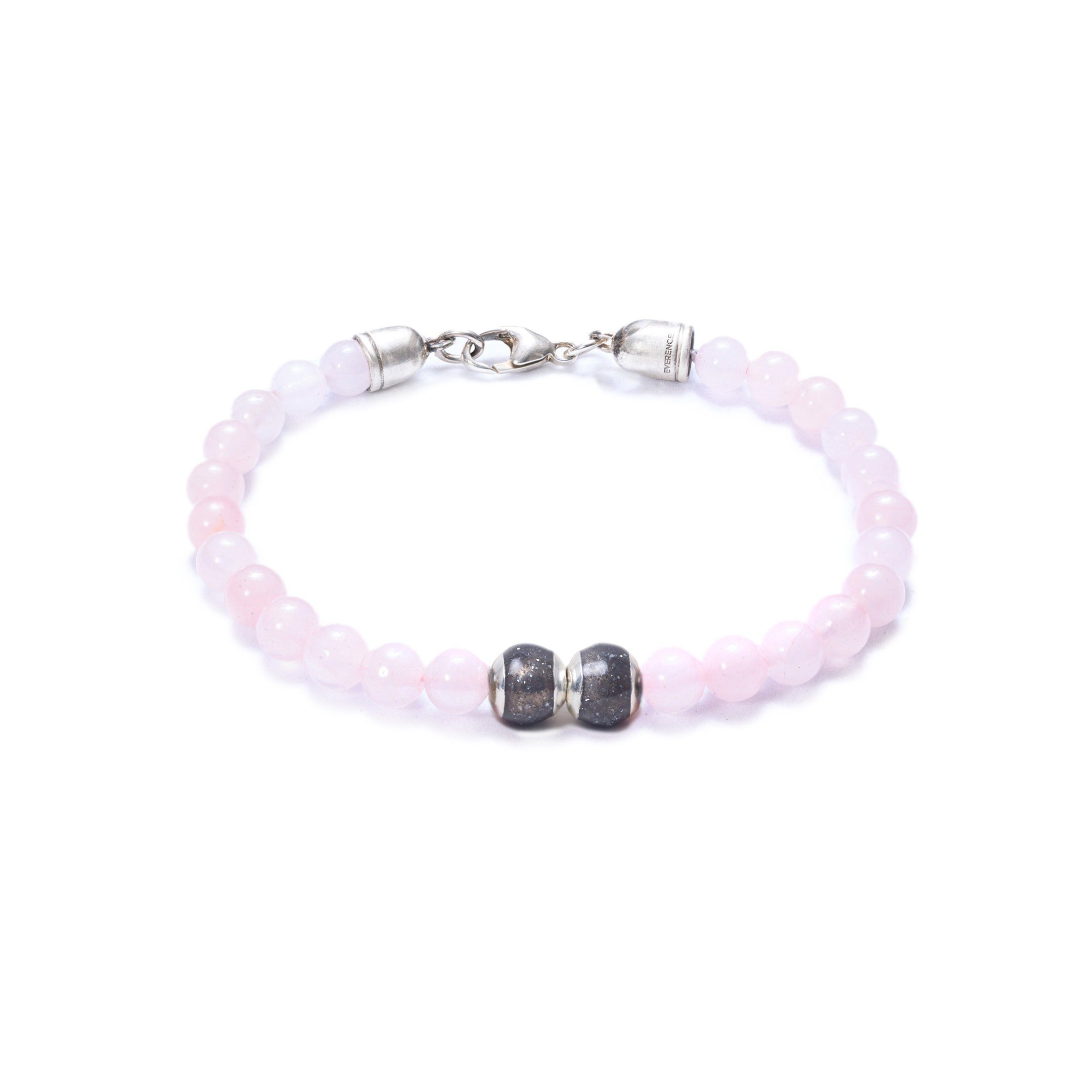 Rose Quartz, Two Everence Beads Everence Grey Lobster Claw 7