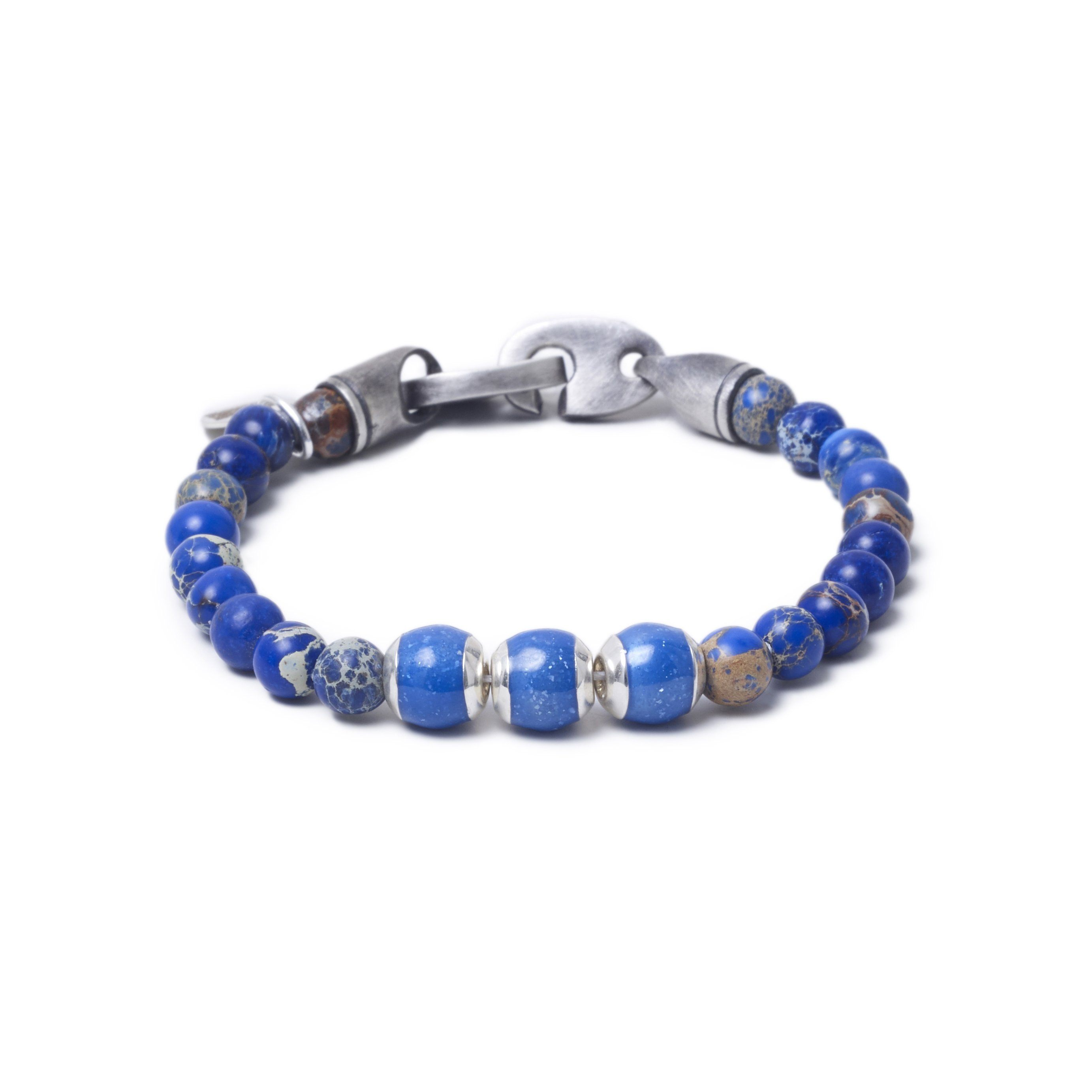 Blue Sea Jasper, Three Everence Beads everence.life Blue Brummel Hook 7