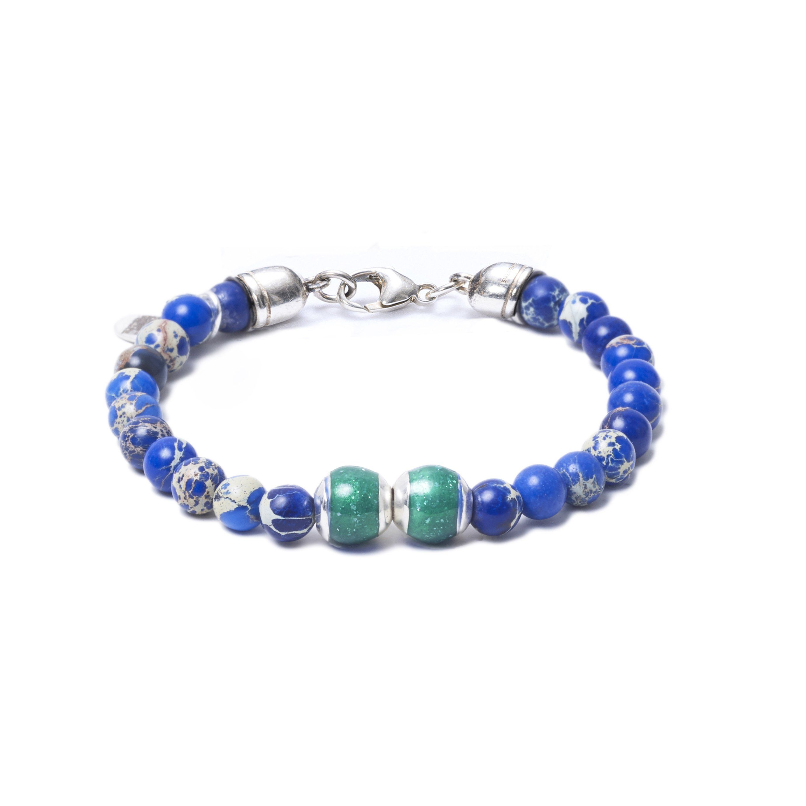 Blue Sea Jasper, Two Everence Beads everence.life Green Lobster Claw 7