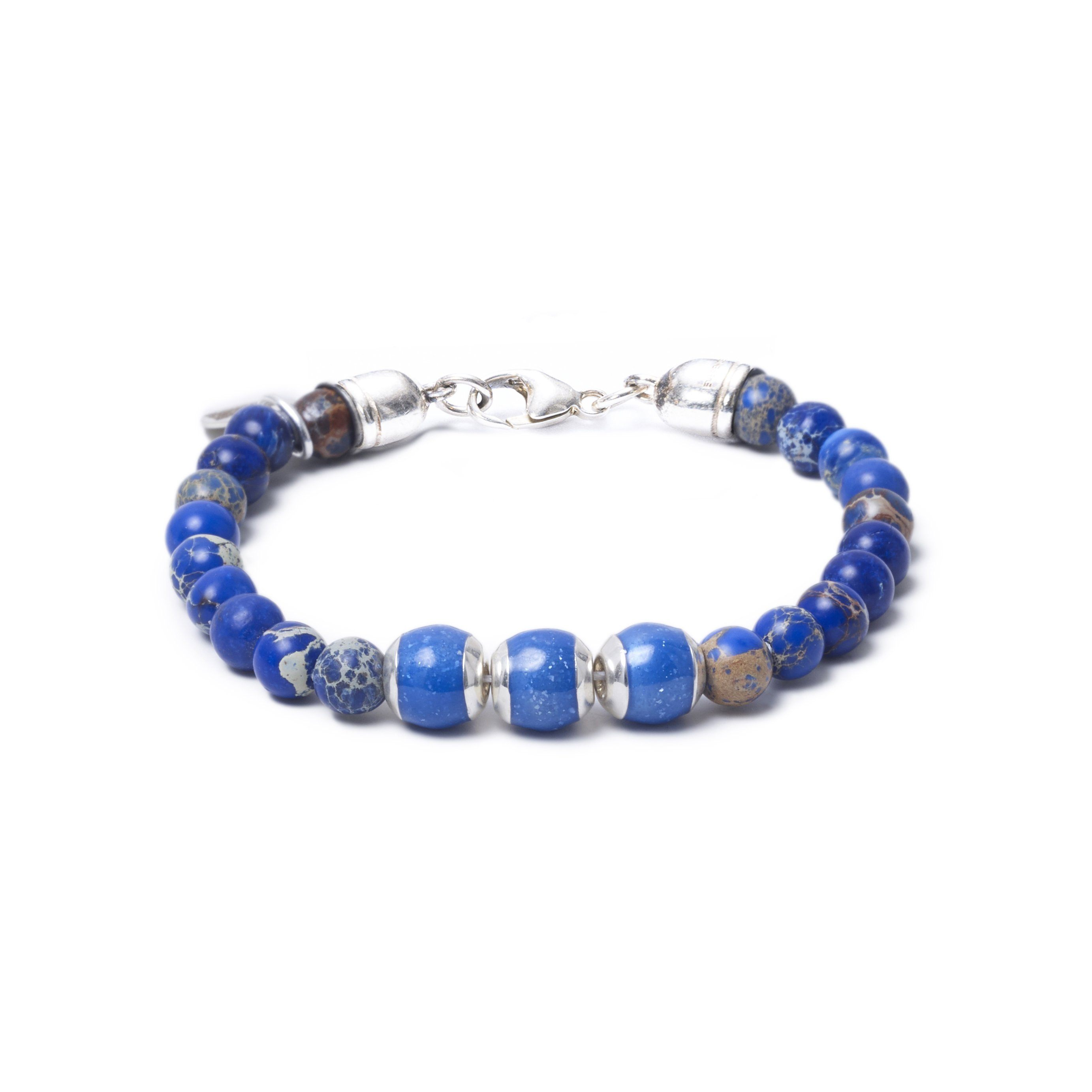 Blue Sea Jasper, Three Everence Beads everence.life Blue Lobster Claw 7