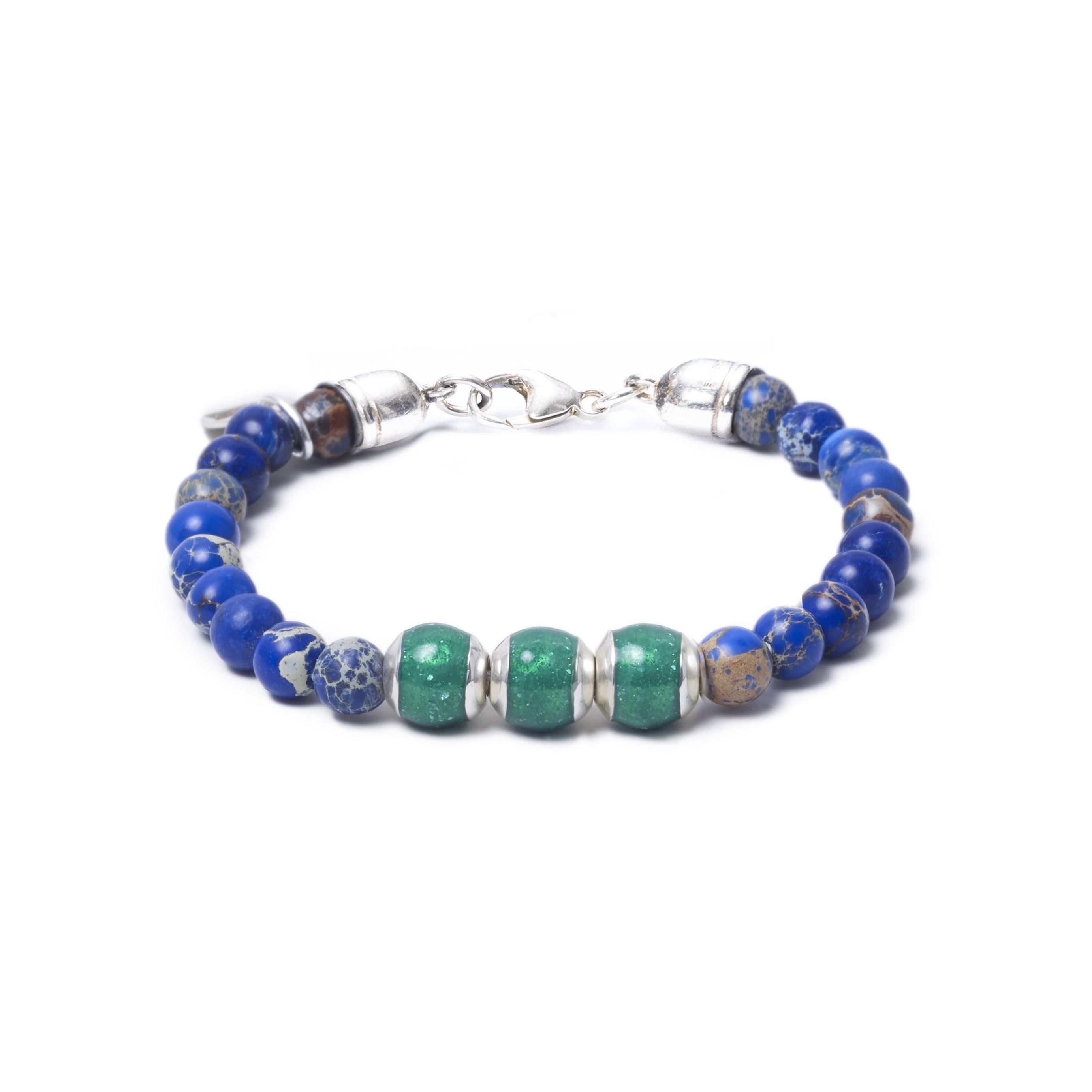 Blue Sea Jasper, Three Everence Beads everence.life Green Lobster Claw 7