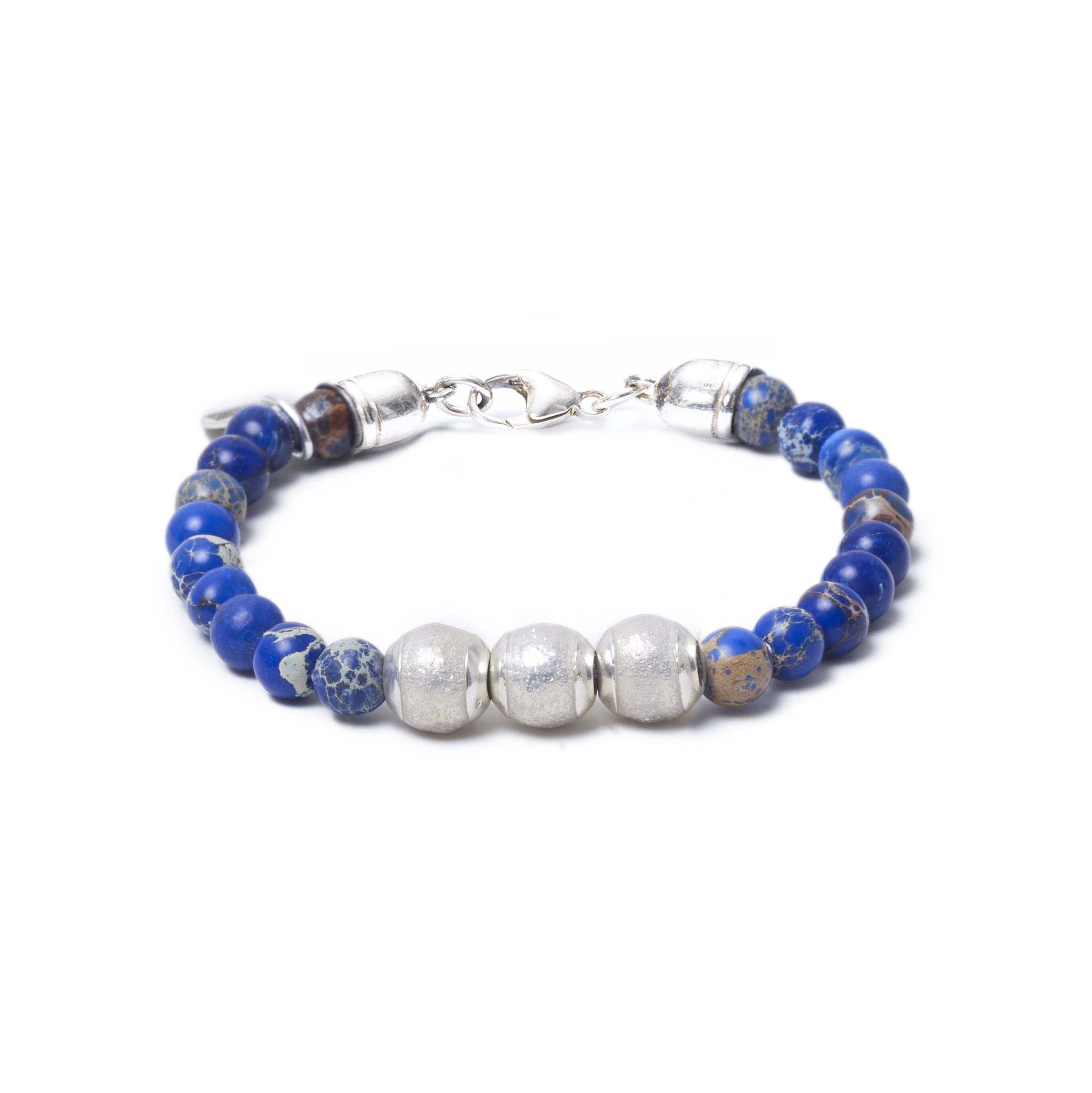 Blue Sea Jasper, Three Everence Beads everence.life Clear Lobster Claw 7
