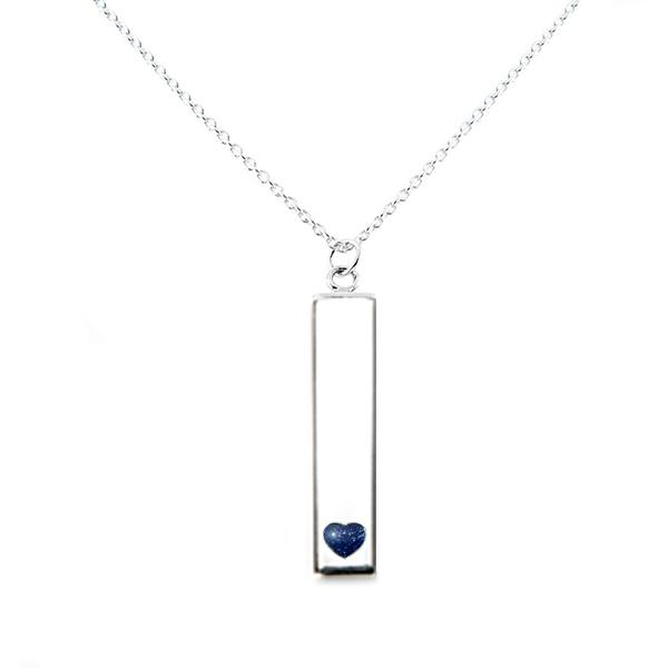 Sterling Silver Bar Pendant Necklace with Heart Everence Inlay everence.life Navy