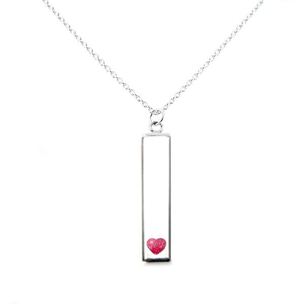 Sterling Silver Bar Pendant Necklace with Heart Everence Inlay everence.life Scarlet