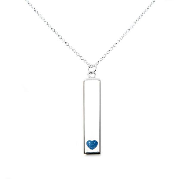 Sterling Silver Bar Pendant Necklace with Heart Everence Inlay everence.life Sky