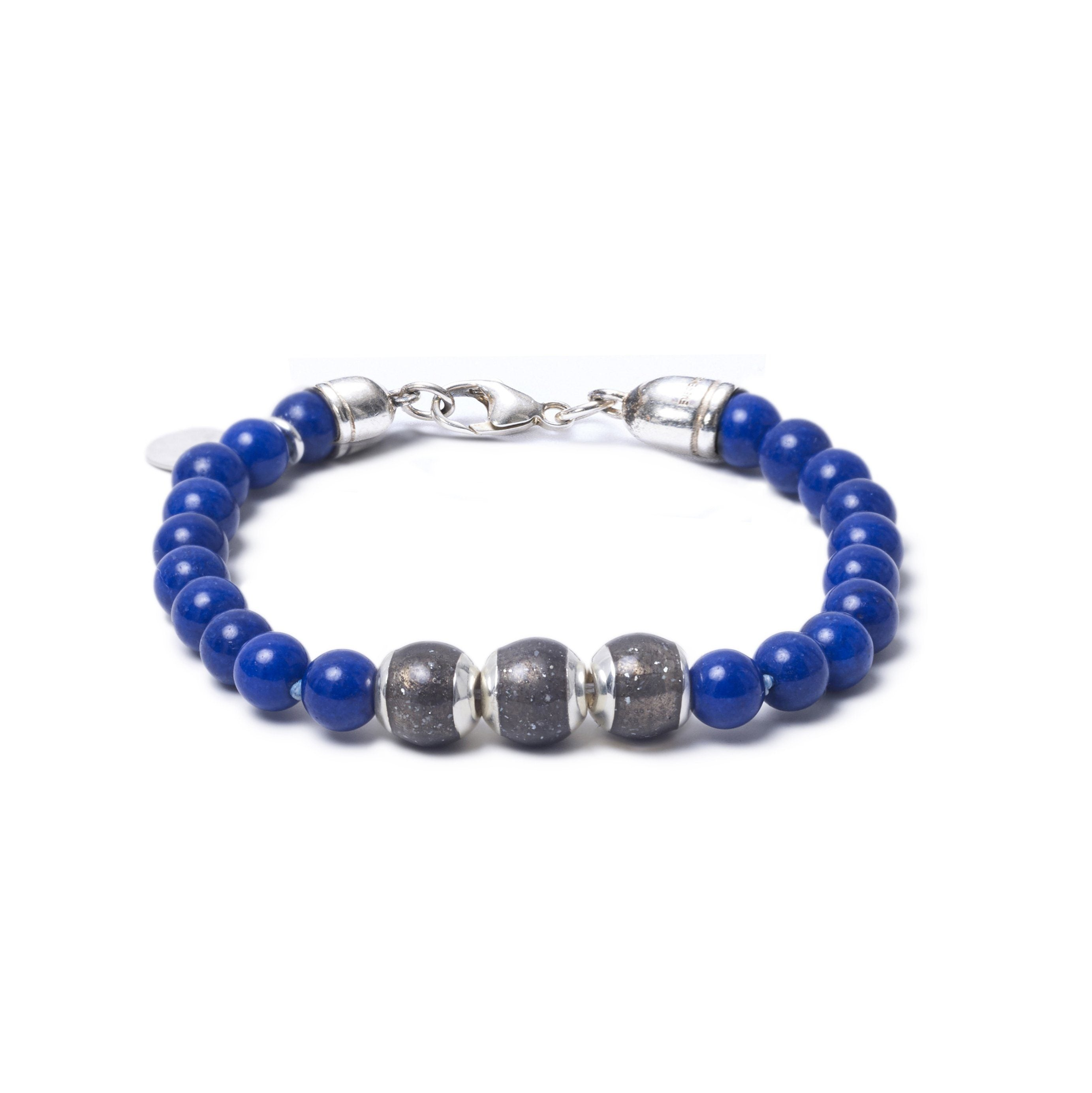 Lapis Lazuli, Three Everence Beads everence.life Grey Lobster Claw 7