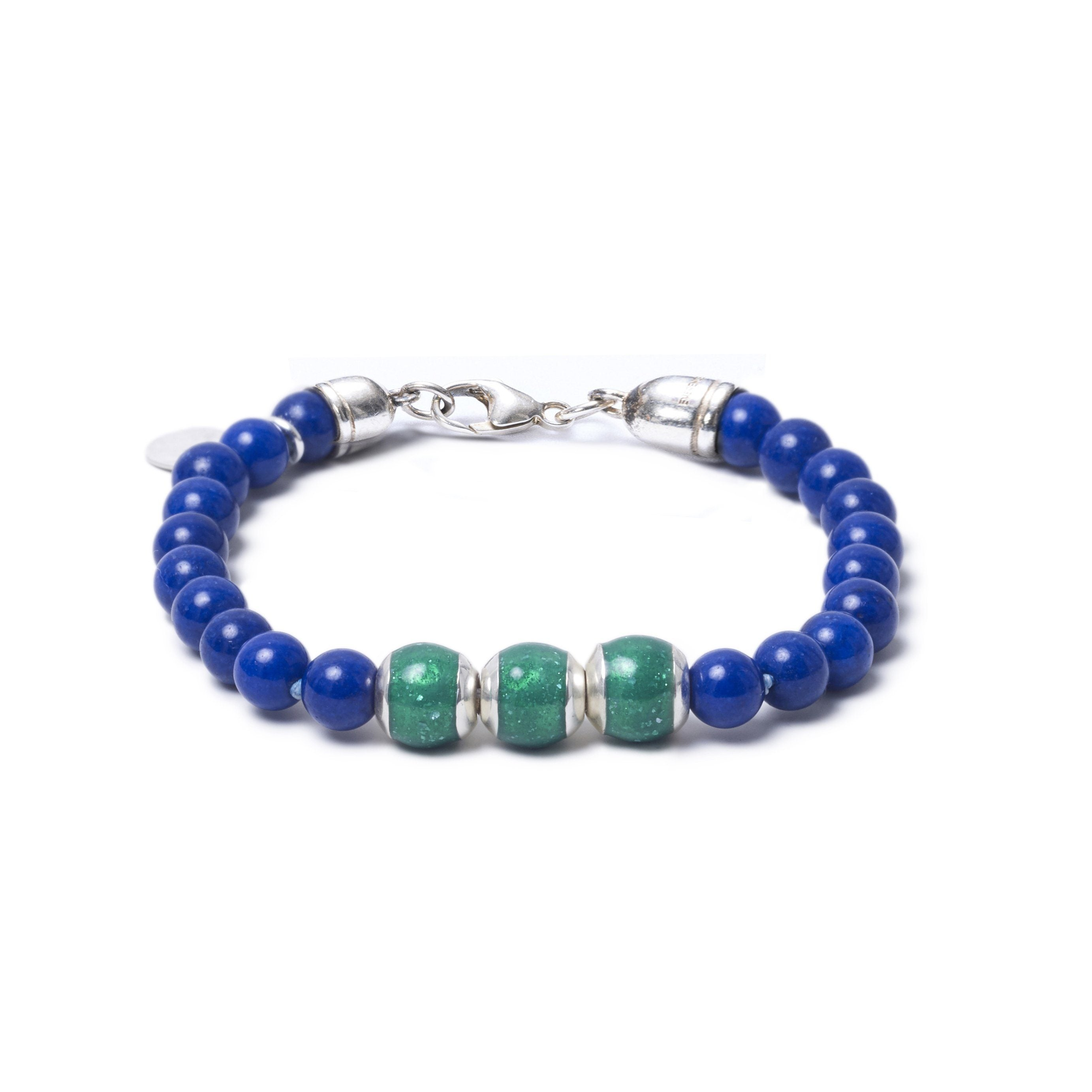 Lapis Lazuli, Three Everence Beads everence.life Green Lobster Claw 7