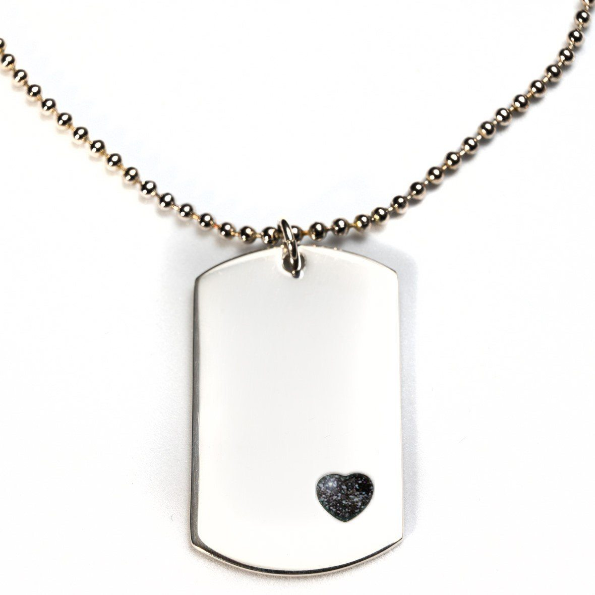 Sterling-Silver Dog Tag with Everence Inlay - Large Everence Charcoal