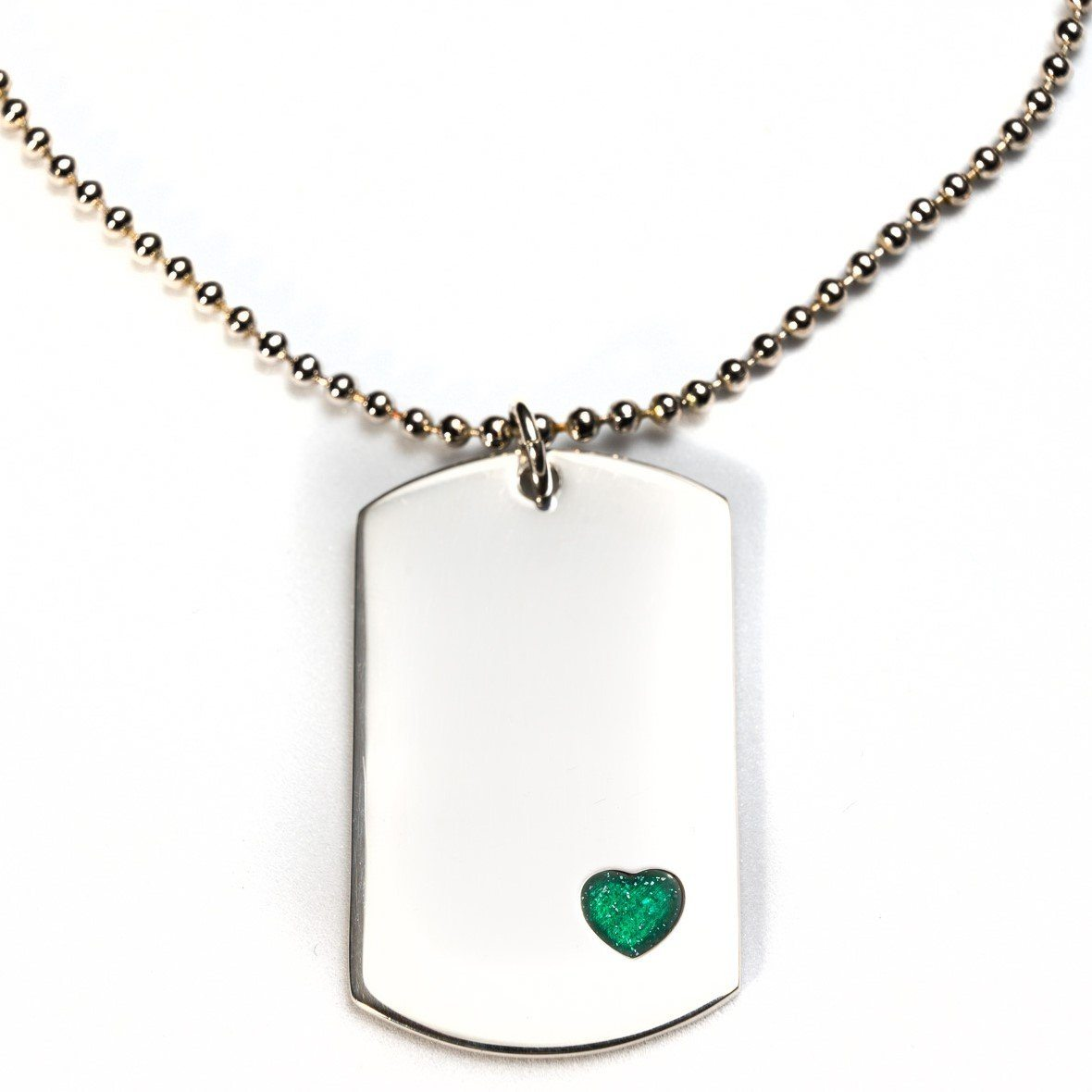 Sterling-Silver Dog Tag with Everence Inlay - Large Everence Emerald