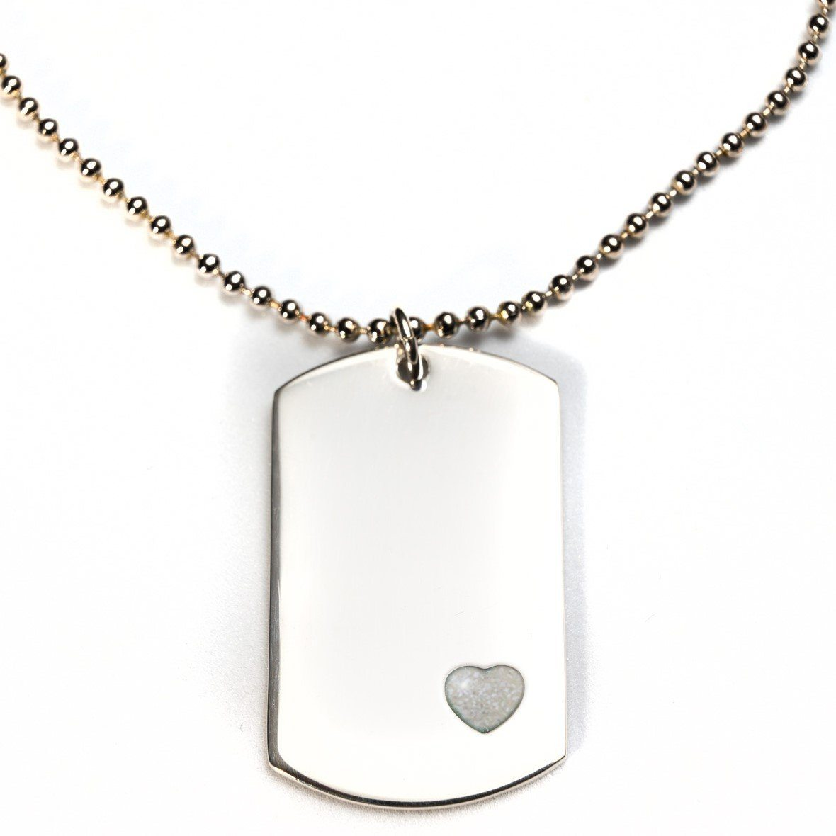 Sterling-Silver Dog Tag with Everence Inlay - Large Everence Pearl