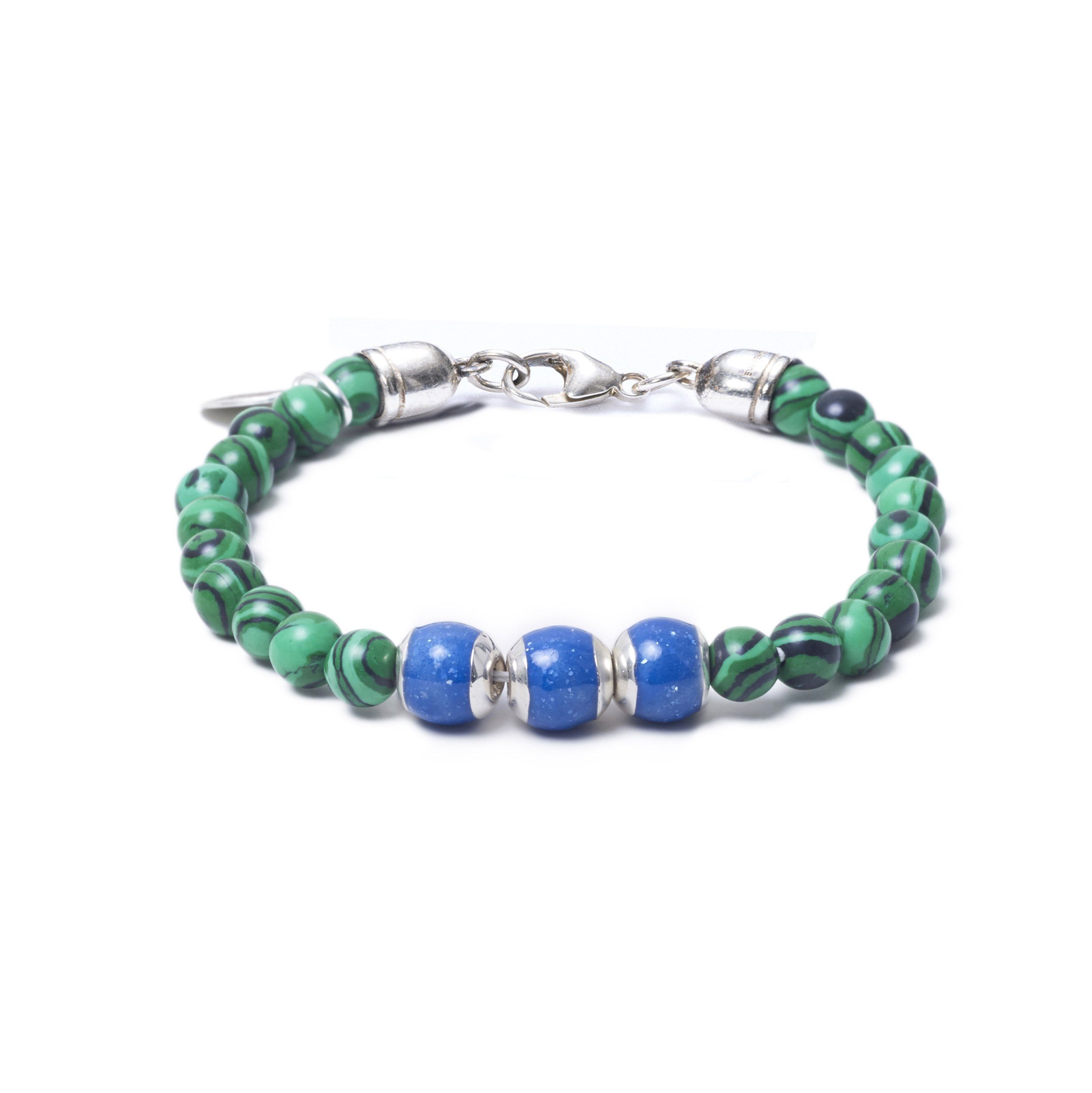 Malachite, Three Everence Beads everence.life Blue Lobster Claw 7