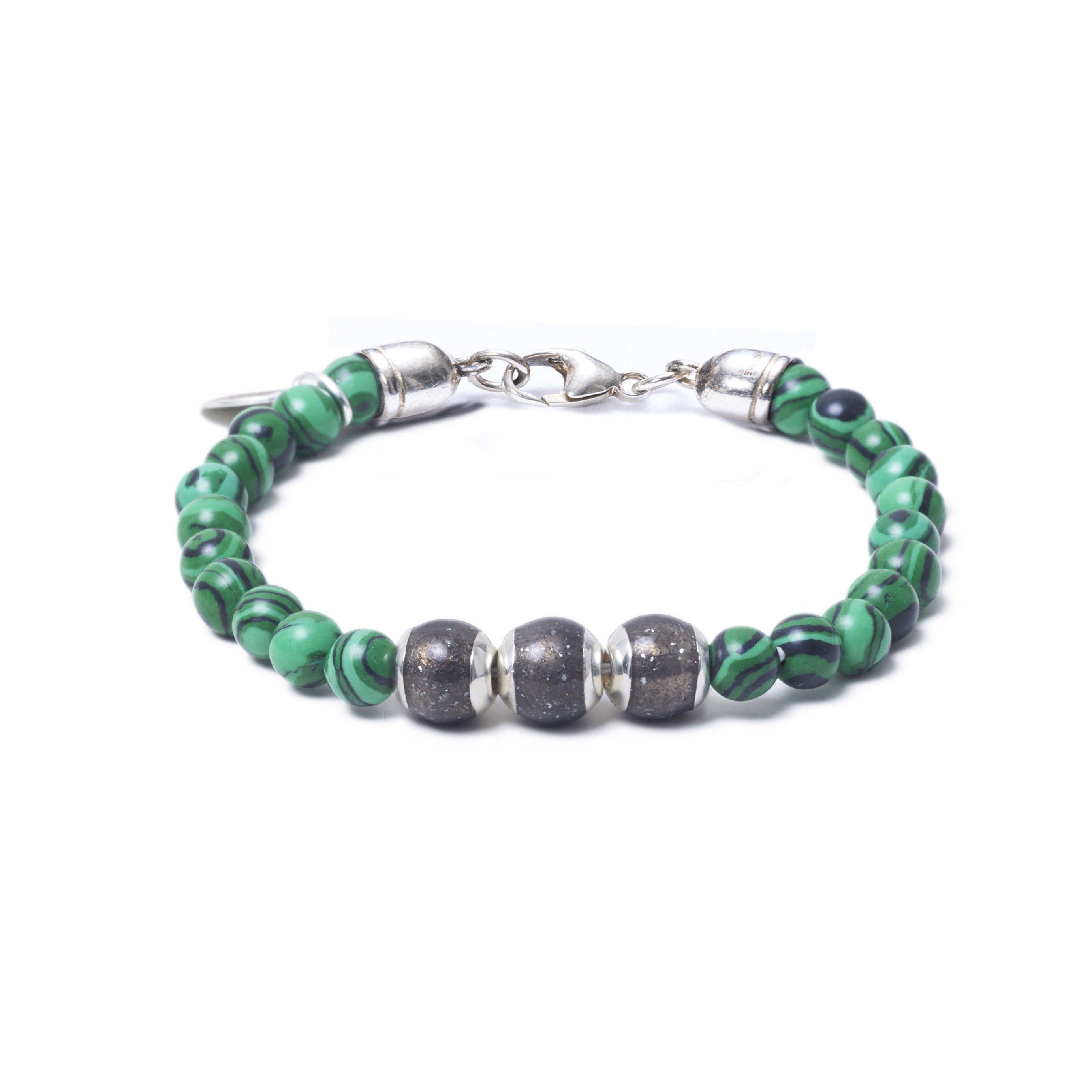 Malachite, Three Everence Beads everence.life Grey Lobster Claw 7