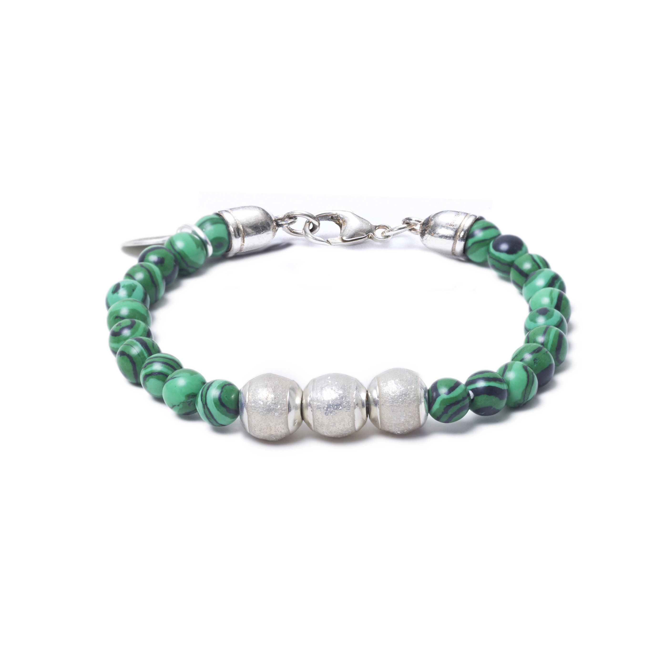 Malachite, Three Everence Beads everence.life Clear Lobster Claw 7