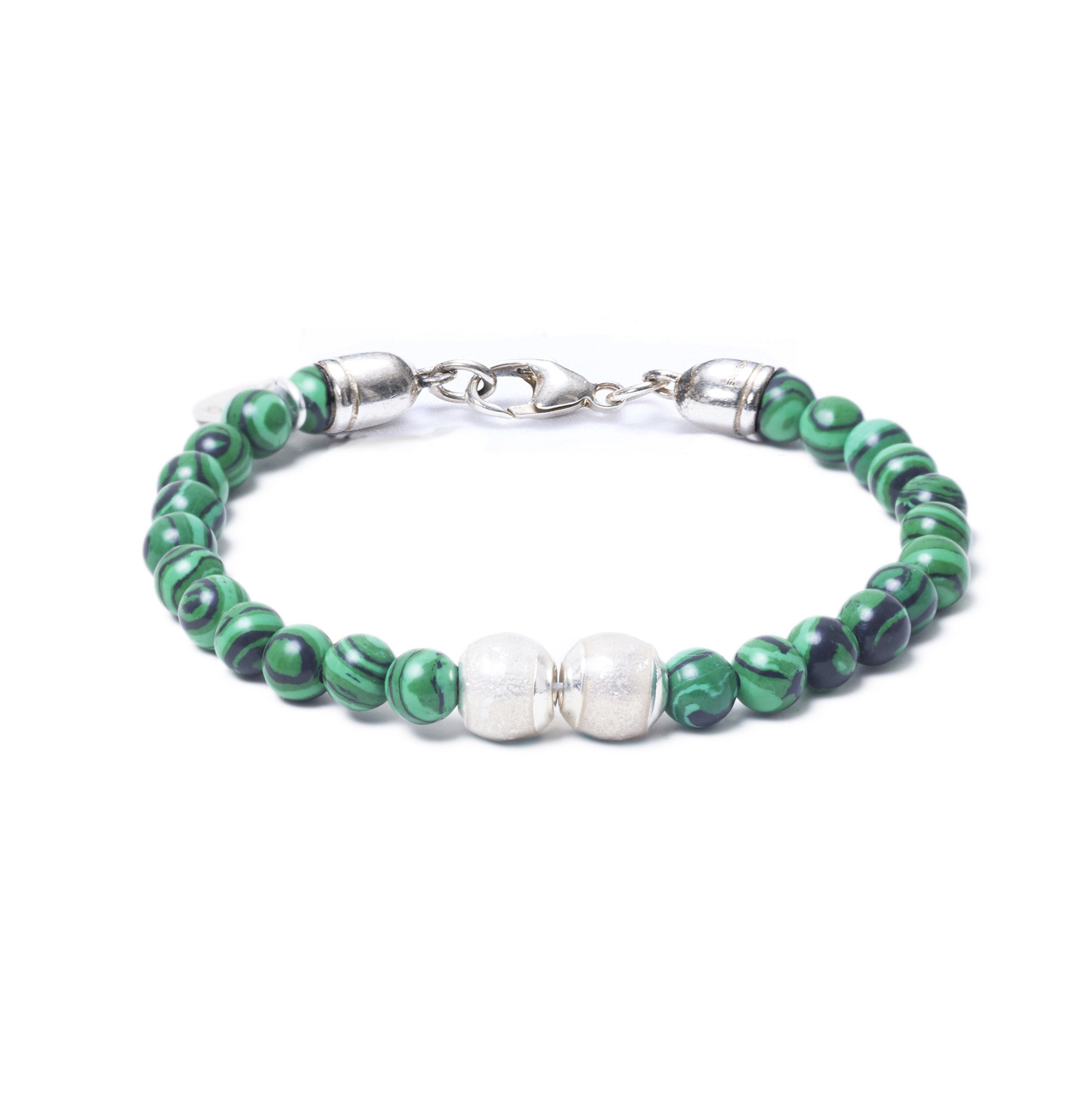 Malachite, Two Everence Beads everence.life Clear Lobster Claw 7