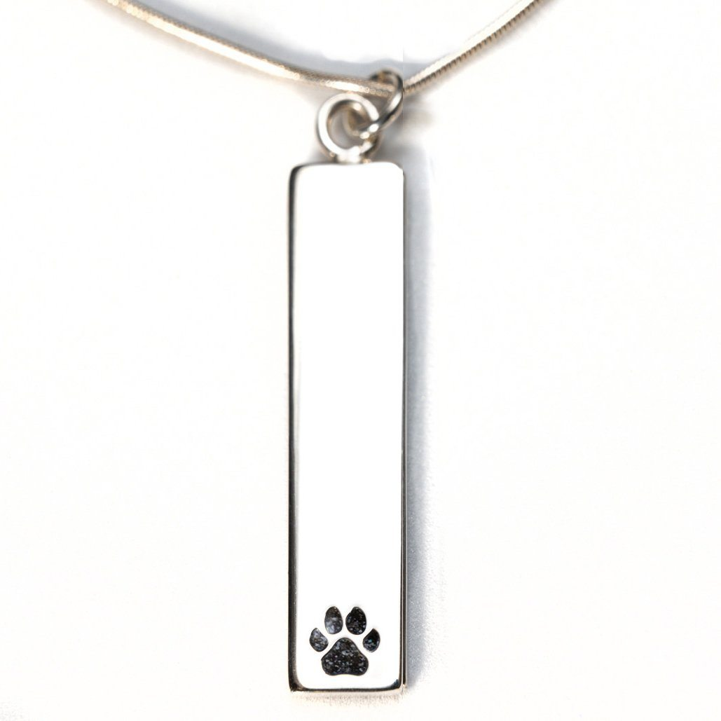Sterling Silver Bar Pendant Necklace with Pawprint Everence Inlay everence.life Charcoal