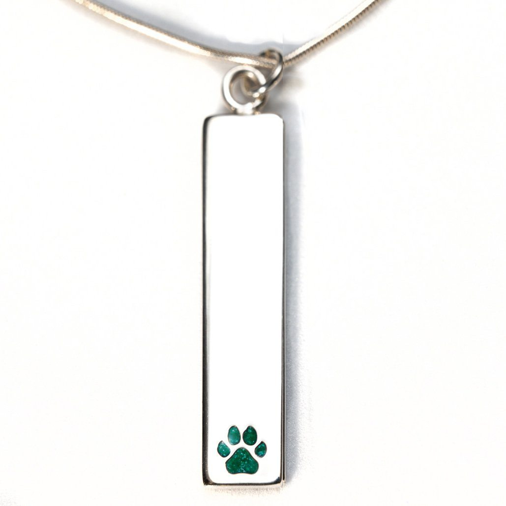 Sterling Silver Bar Pendant Necklace with Pawprint Everence Inlay everence.life Emerald