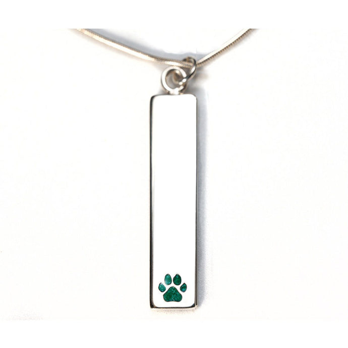 Sterling Silver Bar Pendant Necklace with Pawprint Everence Inlay