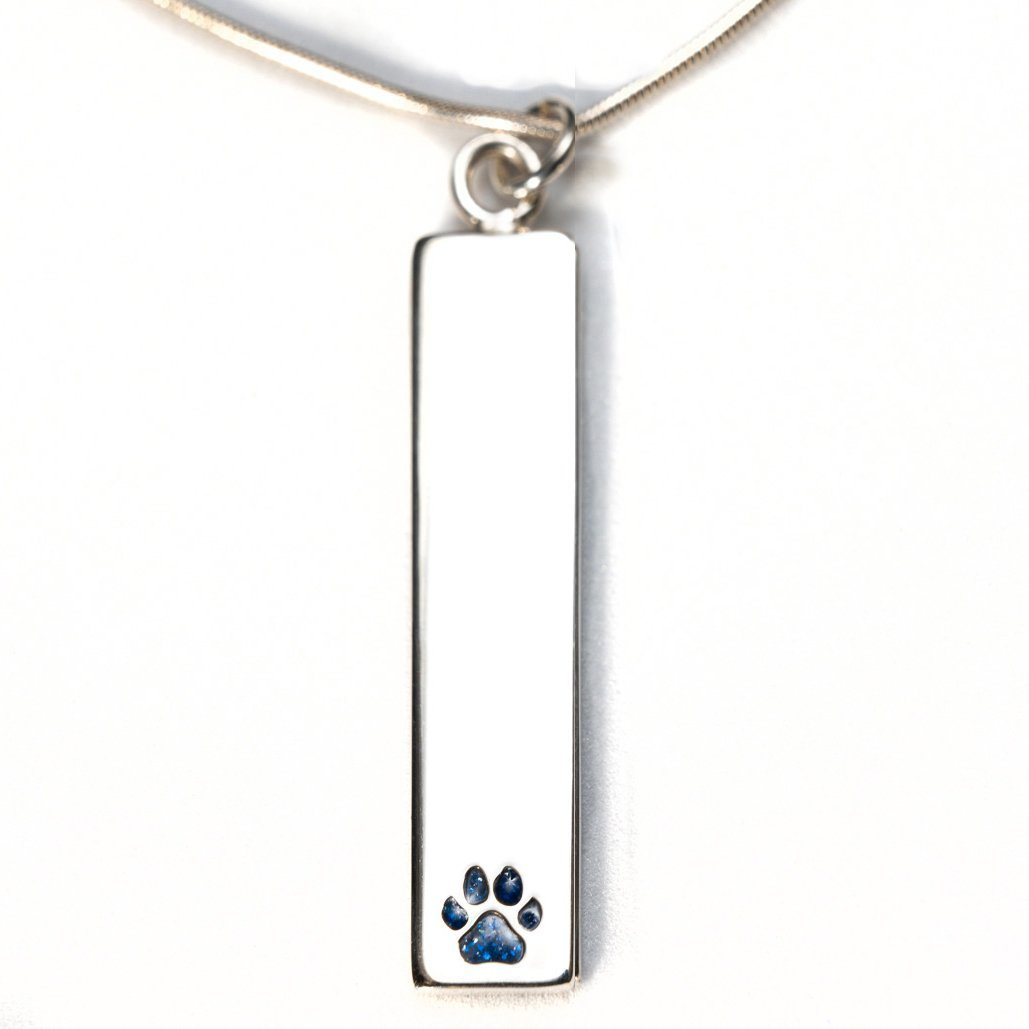 Sterling Silver Bar Pendant Necklace with Pawprint Everence Inlay everence.life Navy
